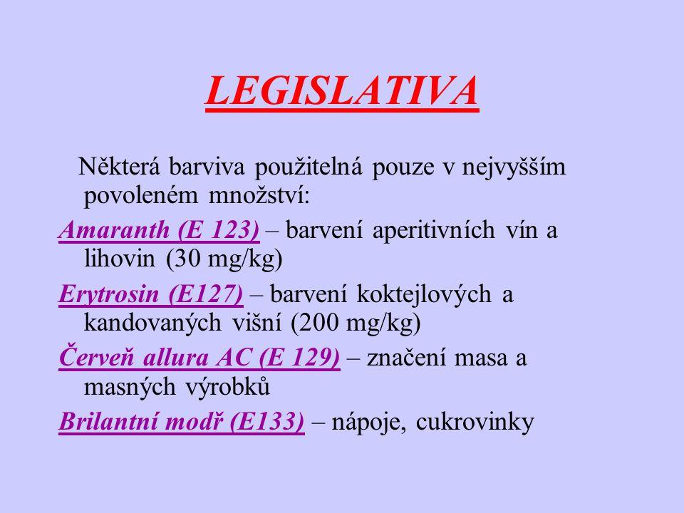 LEGISLATIVA Některá barviva použitelná pouze v nejvyšším povoleném množství: Amaranth (E 123) – barvení aperitivních vín a lihovin (30 mg/kg) Erytrosi