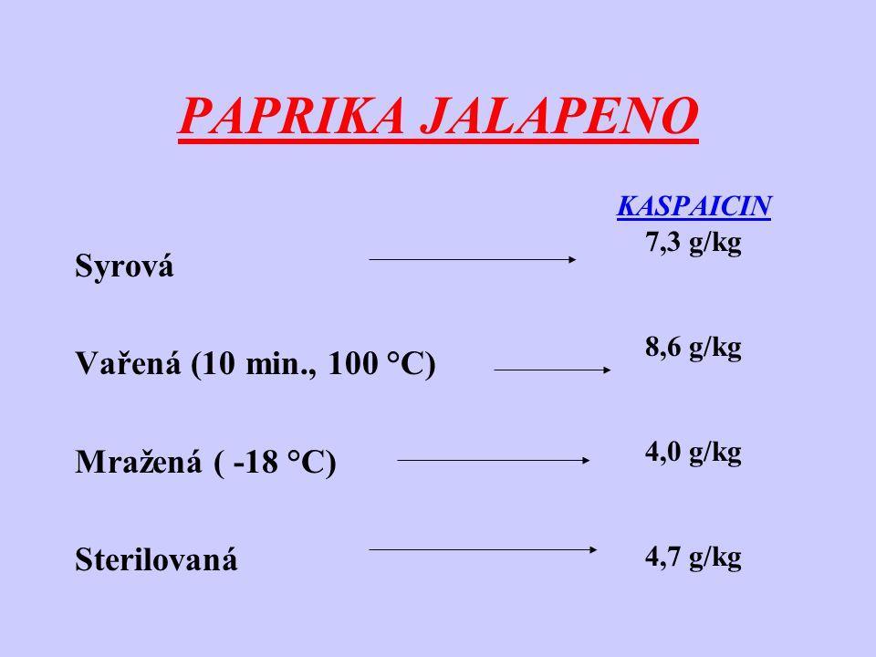 PAPRIKA JALAPENO Syrová Vařená (10 min., 100 °C) Mražená ( -18 °C) Sterilovaná KASPAICIN 7,3 g/kg 8,6 g/kg 4,0 g/kg 4,7 g/kg