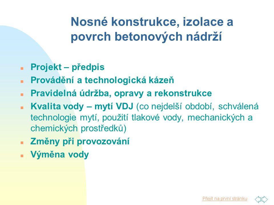 Přejít na první stránku Nosné konstrukce, izolace a povrch betonových nádrží n Projekt – předpis n Provádění a technologická kázeň n Pravidelná údržba