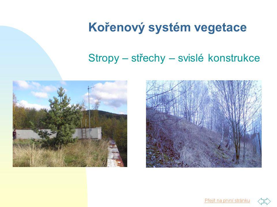 Přejít na první stránku Kořenový systém vegetace Stropy – střechy – svislé konstrukce