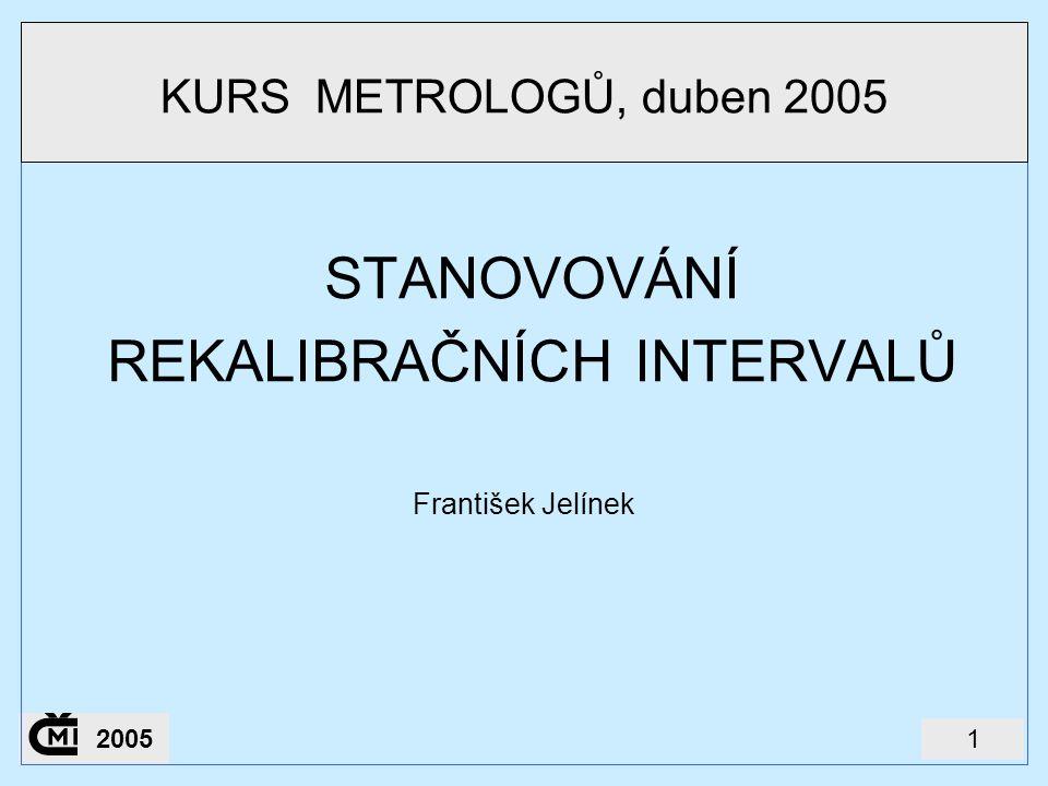 12005 STANOVOVÁNÍ REKALIBRAČNÍCH INTERVALŮ František Jelínek KURS METROLOGŮ, duben 2005