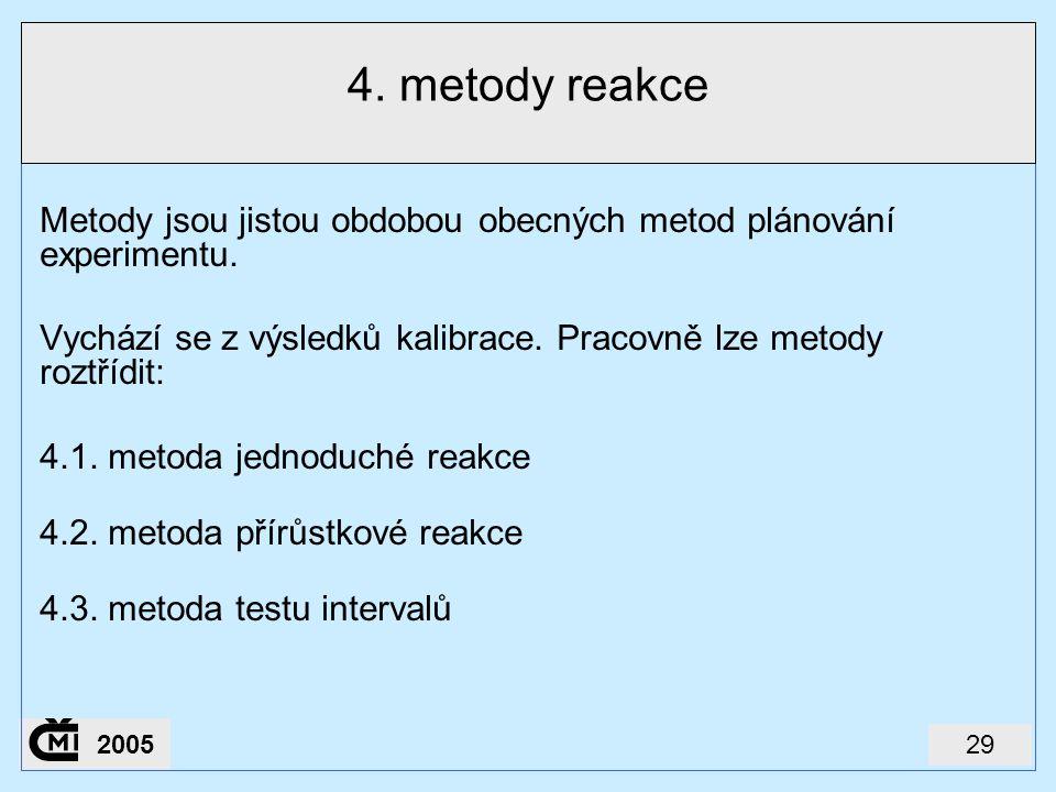 292005 4. metody reakce Metody jsou jistou obdobou obecných metod plánování experimentu. Vychází se z výsledků kalibrace. Pracovně lze metody roztřídi