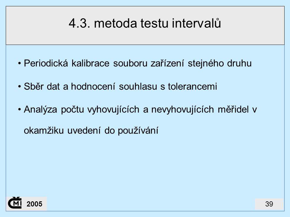 392005 4.3. metoda testu intervalů Periodická kalibrace souboru zařízení stejného druhu Sběr dat a hodnocení souhlasu s tolerancemi Analýza počtu vyho
