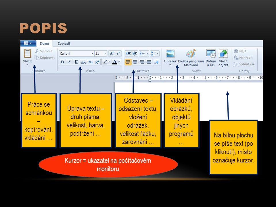 POPIS Práce se schránkou – kopírování, vkládání … Úprava textu – druh písma, velikost, barva, podtržení … Odstavec – odsazení textu, vložení odrážek,
