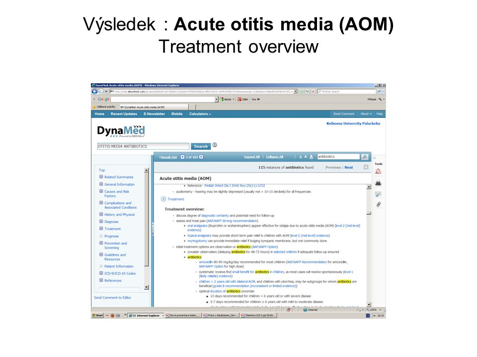 Výsledek : Acute otitis media (AOM) Treatment overview