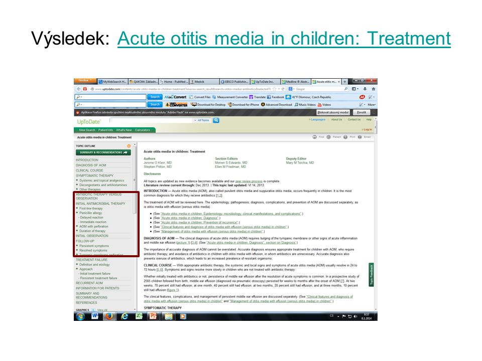 Výsledek: Acute otitis media in children: TreatmentAcute otitis media in children: Treatment