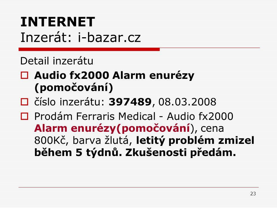 23 INTERNET Inzerát: i-bazar.cz Detail inzerátu  Audio fx2000 Alarm enurézy (pomočování)  číslo inzerátu: 397489, 08.03.2008  Prodám Ferraris Medical - Audio fx2000 Alarm enurézy(pomočování), cena 800Kč, barva žlutá, letitý problém zmizel během 5 týdnů.