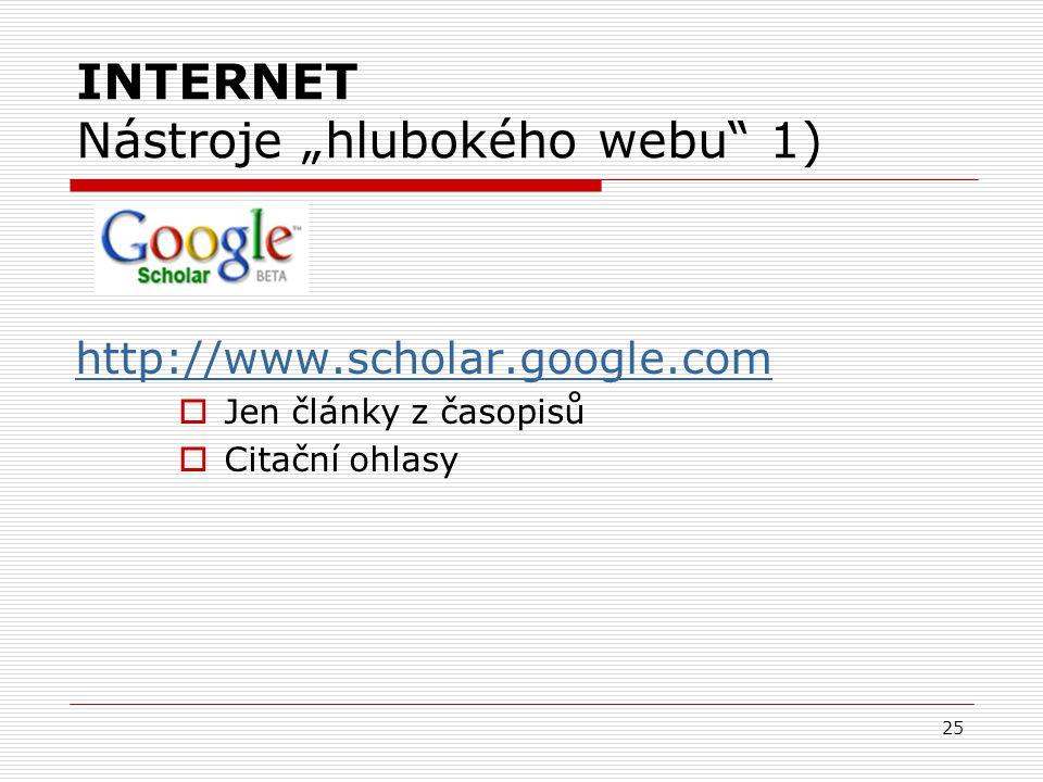 """25 INTERNET Nástroje """"hlubokého webu 1) http://www.scholar.google.com  Jen články z časopisů  Citační ohlasy"""