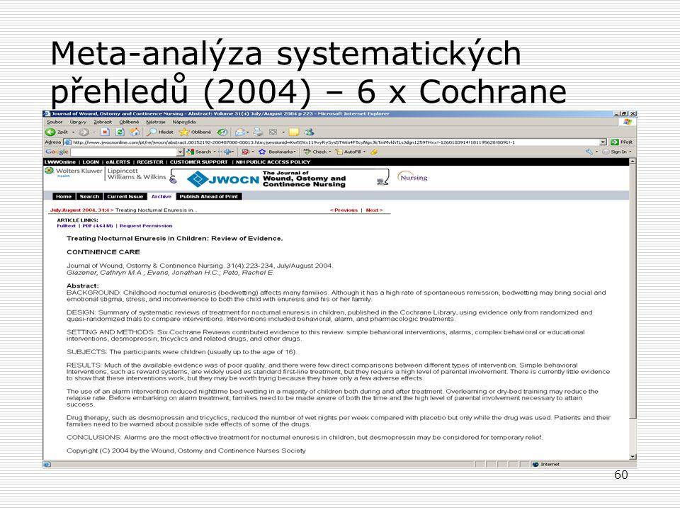 60 Meta-analýza systematických přehledů (2004) – 6 x Cochrane