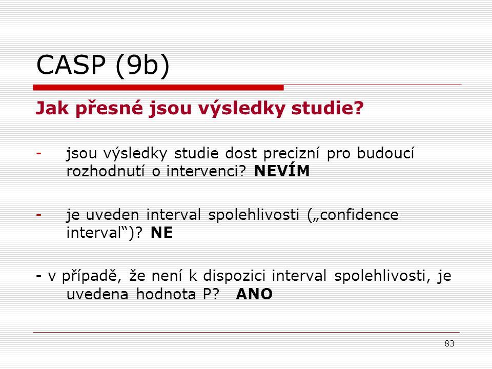83 CASP (9b) Jak přesné jsou výsledky studie.