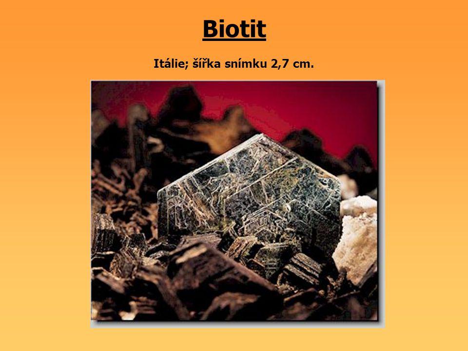 Biotit Itálie; šířka snímku 2,7 cm.