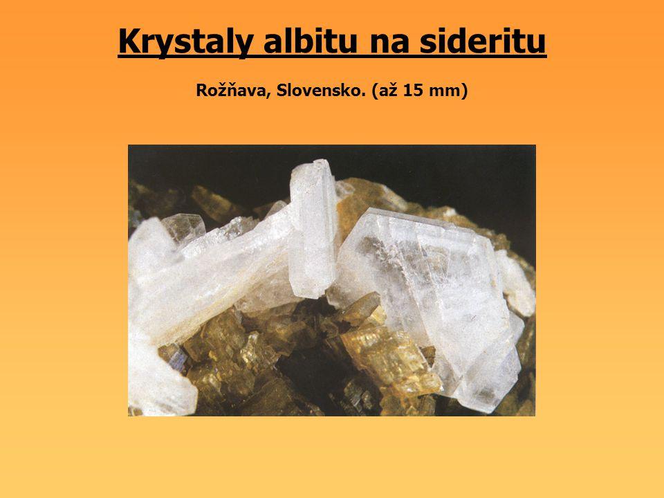 Krystaly albitu na sideritu Rožňava, Slovensko. (až 15 mm)