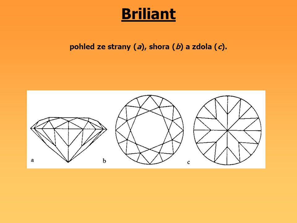 Briliant pohled ze strany (a), shora (b) a zdola (c).