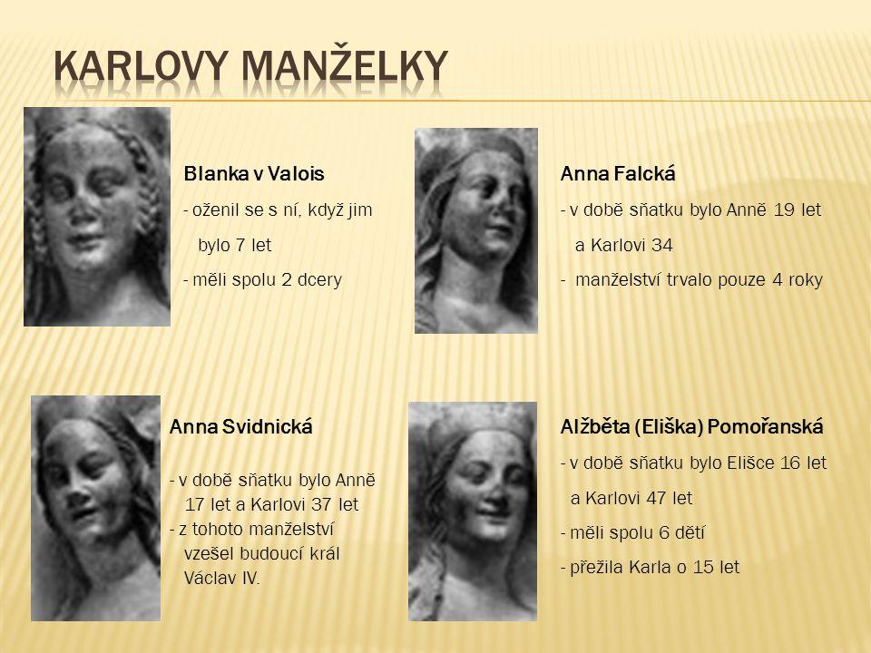 Blanka v Valois - oženil se s ní, když jim bylo 7 let - měli spolu 2 dcery Anna Falcká - v době sňatku bylo Anně 19 let a Karlovi 34 - manželství trva