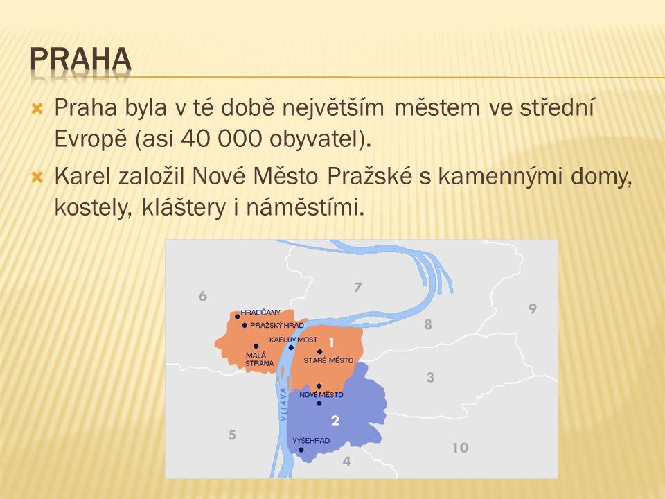  Praha byla v té době největším městem ve střední Evropě (asi 40 000 obyvatel).  Karel založil Nové Město Pražské s kamennými domy, kostely, klášter