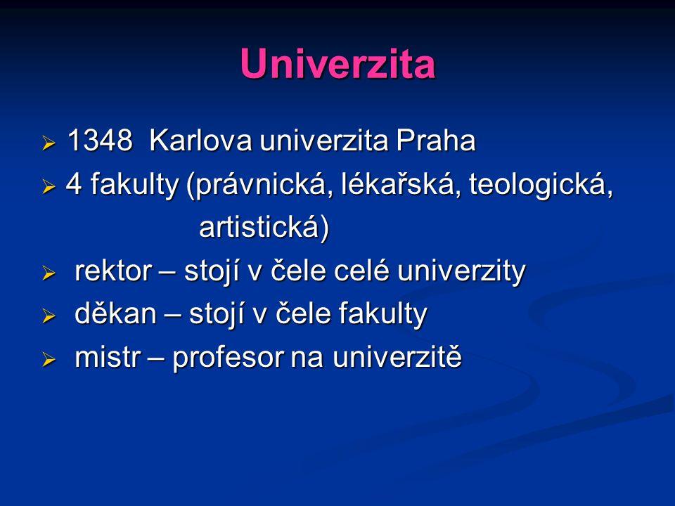 Univerzita  1348 Karlova univerzita Praha  4 fakulty (právnická, lékařská, teologická, artistická) artistická)  rektor – stojí v čele celé univerzi