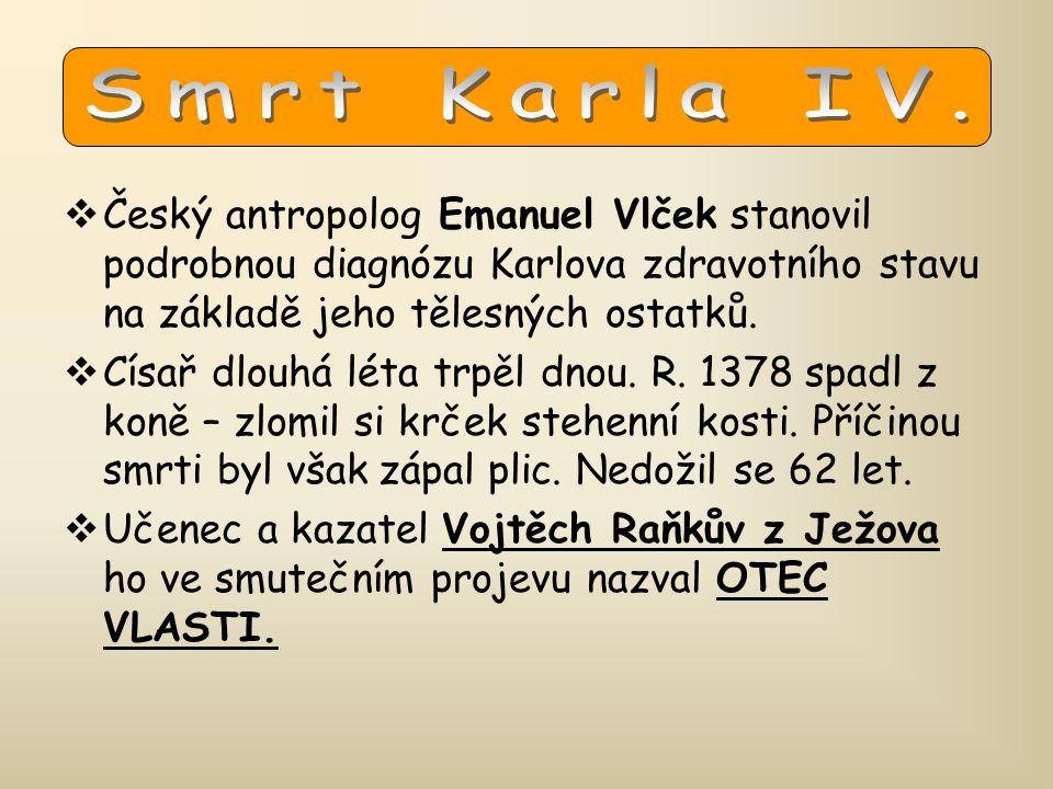  Český antropolog Emanuel Vlček stanovil podrobnou diagnózu Karlova zdravotního stavu na základě jeho tělesných ostatků.  Císař dlouhá léta trpěl dn