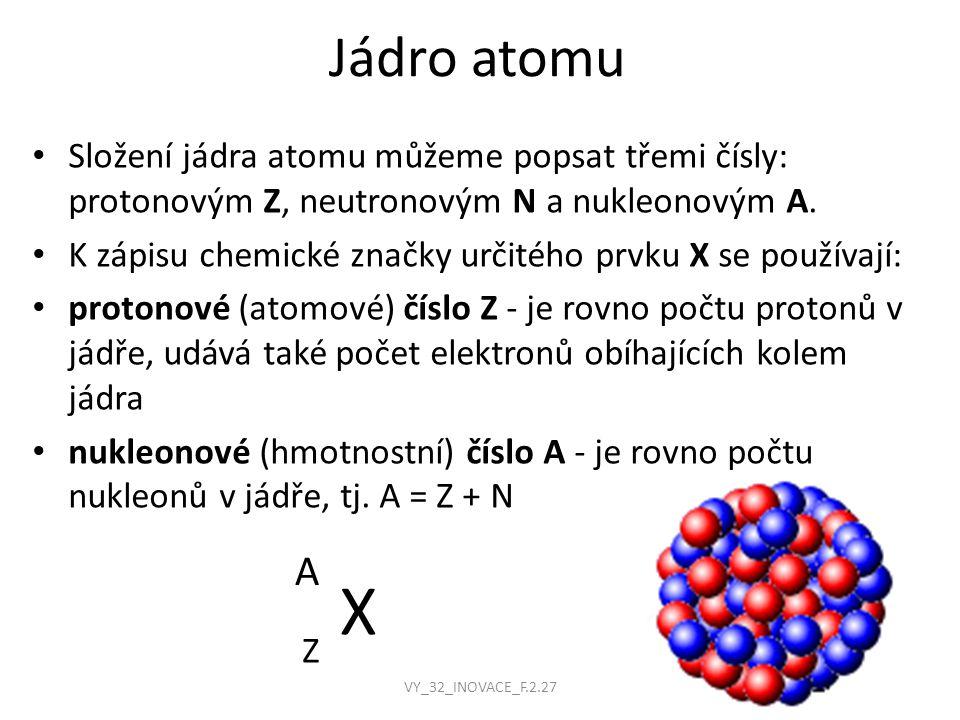 Jádro atomu Složení jádra atomu můžeme popsat třemi čísly: protonovým Z, neutronovým N a nukleonovým A.