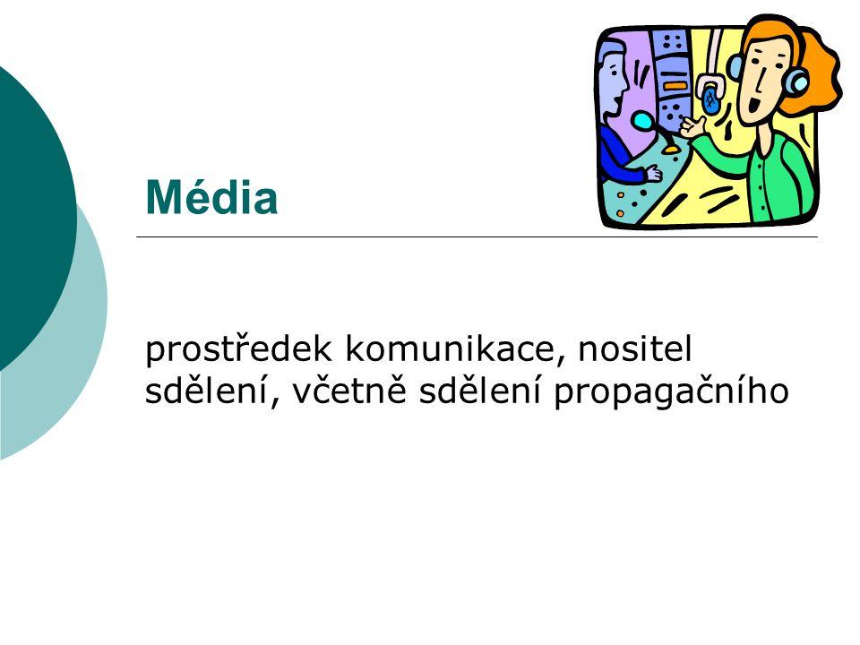 Média prostředek komunikace, nositel sdělení, včetně sdělení propagačního