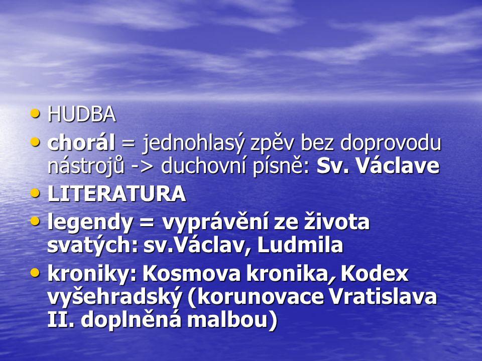 HUDBA HUDBA chorál = jednohlasý zpěv bez doprovodu nástrojů -> duchovní písně: Sv.