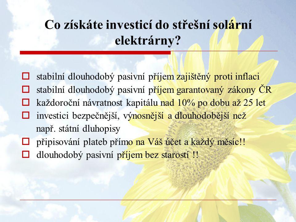 Co získáte investicí do střešní solární elektrárny?  stabilní dlouhodobý pasivní příjem zajištěný proti inflaci  stabilní dlouhodobý pasivní příjem