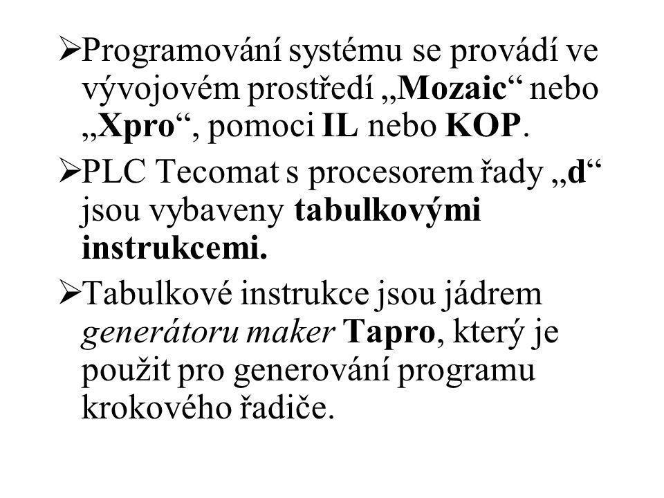 """ Programování systému se provádí ve vývojovém prostředí """"Mozaic"""" nebo """"Xpro"""", pomoci IL nebo KOP.  PLC Tecomat s procesorem řady """"d"""" jsou vybaveny t"""