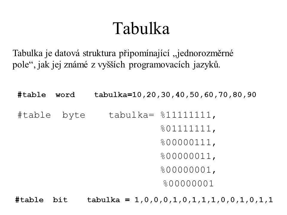"""Tabulka #table word tabulka=10,20,30,40,50,60,70,80,90 #table byte tabulka= %11111111, %01111111, %00000111, %00000011, %00000001, %00000001 #table bit tabulka = 1,0,0,0,1,0,1,1,1,0,0,1,0,1,1 Tabulka je datová struktura připomínající """"jednorozměrné pole , jak jej známé z vyšších programovacích jazyků."""