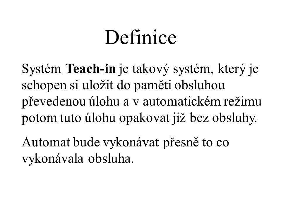 Systém Teach-in je takový systém, který je schopen si uložit do paměti obsluhou převedenou úlohu a v automatickém režimu potom tuto úlohu opakovat již bez obsluhy.