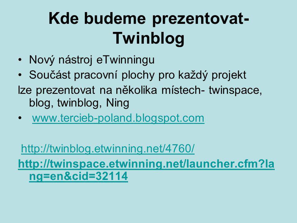Kde budeme prezentovat- Twinblog Nový nástroj eTwinningu Součást pracovní plochy pro každý projekt lze prezentovat na několika místech- twinspace, blog, twinblog, Ning www.tercieb-poland.blogspot.com http://twinblog.etwinning.net/4760/ http://twinspace.etwinning.net/launcher.cfm la ng=en&cid=32114