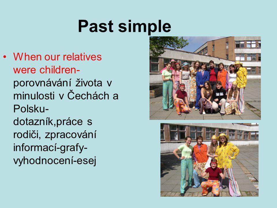 Past simple When our relatives were children- porovnávání života v minulosti v Čechách a Polsku- dotazník,práce s rodiči, zpracování informací-grafy- vyhodnocení-esej