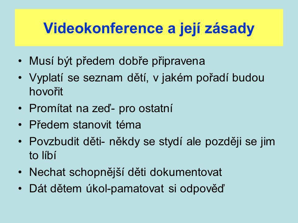 Videokonference a její zásady Musí být předem dobře připravena Vyplatí se seznam dětí, v jakém pořadí budou hovořit Promítat na zeď- pro ostatní Předem stanovit téma Povzbudit děti- někdy se stydí ale později se jim to líbí Nechat schopnější děti dokumentovat Dát dětem úkol-pamatovat si odpověď