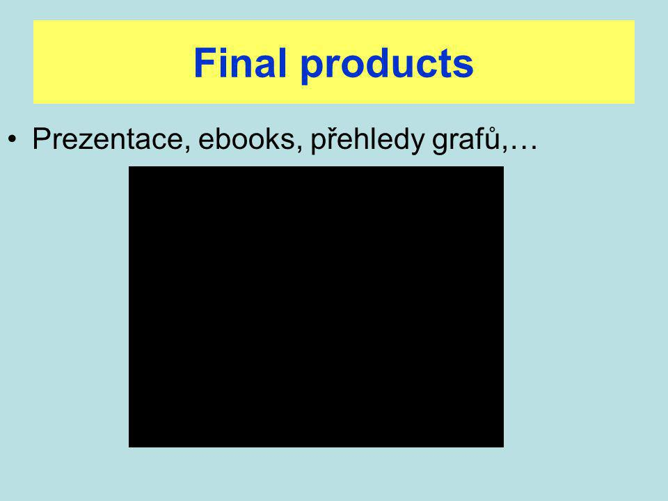 Final products Prezentace, ebooks, přehledy grafů,…