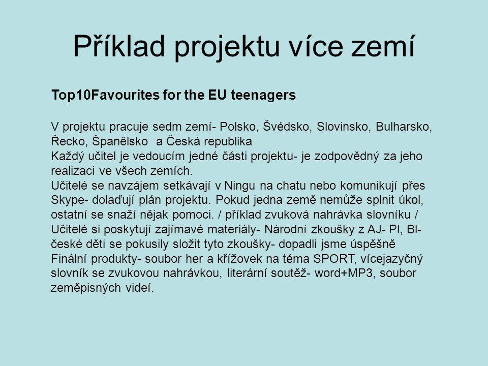 Příklad projektu více zemí Top10Favourites for the EU teenagers V projektu pracuje sedm zemí- Polsko, Švédsko, Slovinsko, Bulharsko, Řecko, Španělsko a Česká republika Každý učitel je vedoucím jedné části projektu- je zodpovědný za jeho realizaci ve všech zemích.