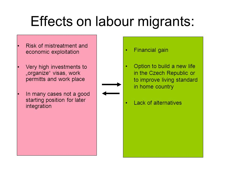 Effects on labour migrants: Financial gain Option to build a new life in the Czech Republic or to improve living standard in home country Lack of alte
