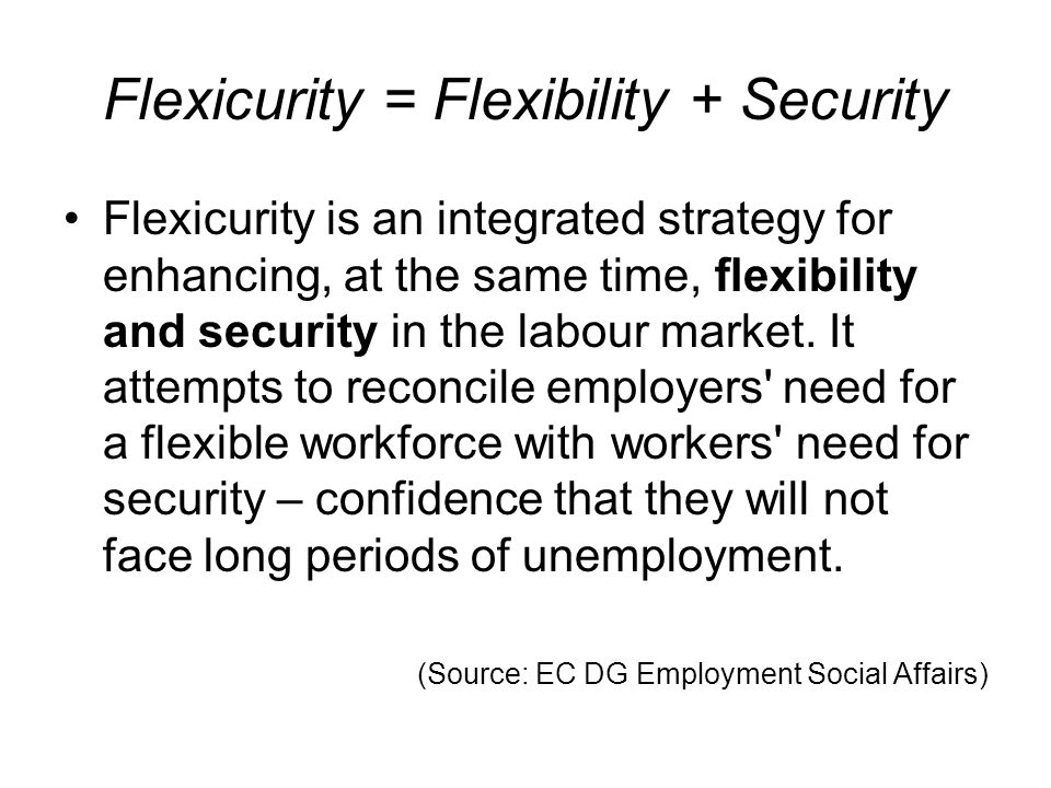 Common principles of flexicurity Working with national governments, social partners and academics the EU has identified a set of common flexicurity principles and is exploring how countries can implement them through four components:common flexicurity principles flexible and reliable contractual arrangements comprehensive lifelong learning strategies effective active labour market policies modern social security systems (Source: EC DG Employment Social Affairs)