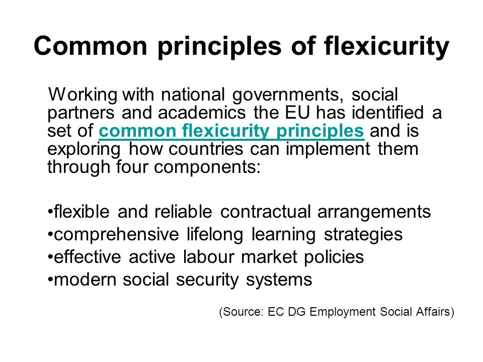 Common principles of flexicurity Working with national governments, social partners and academics the EU has identified a set of common flexicurity pr
