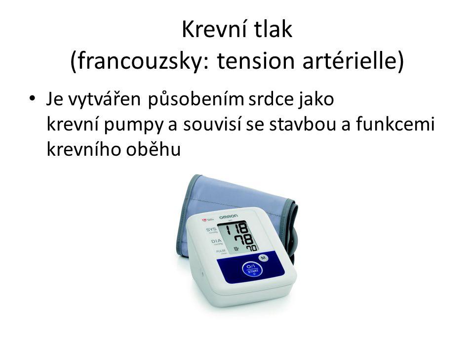 Krevní tlak (francouzsky: tension artérielle) Je vytvářen působením srdce jako krevní pumpy a souvisí se stavbou a funkcemi krevního oběhu