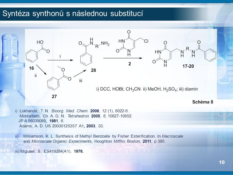 i) Lokhande, T. N. Bioorg. Med. Chem. 2006, 12 (1), 6022-6. Montalbetti, Ch. A. G. N. Tetrahedron 2005, 6, 10827-10852. JP A 56039089, 1981, 6. Adams,