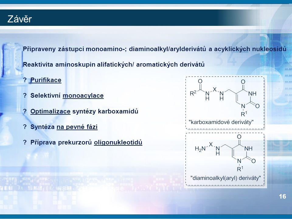 Závěr Připraveny zástupci monoamino-; diaminoalkyl/arylderivátů a acyklických nukleosidů Reaktivita aminoskupin alifatických/ aromatických derivátů ?