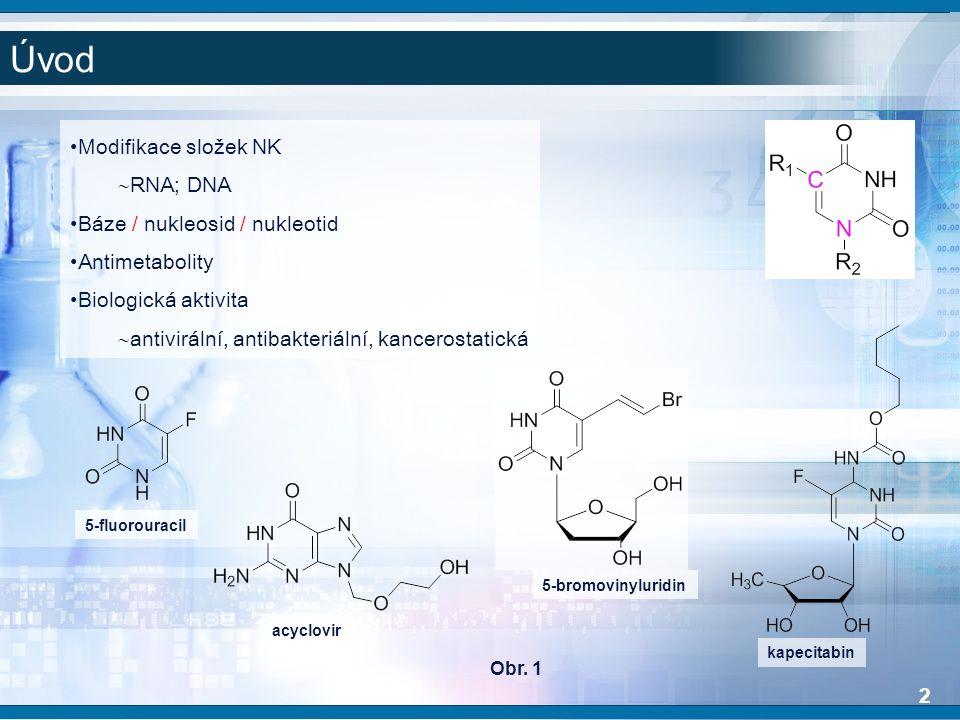 Úvod Modifikace složek NK  RNA; DNA Báze / nukleosid / nukleotid Antimetabolity Biologická aktivita  antivirální, antibakteriální, kancerostatická 5