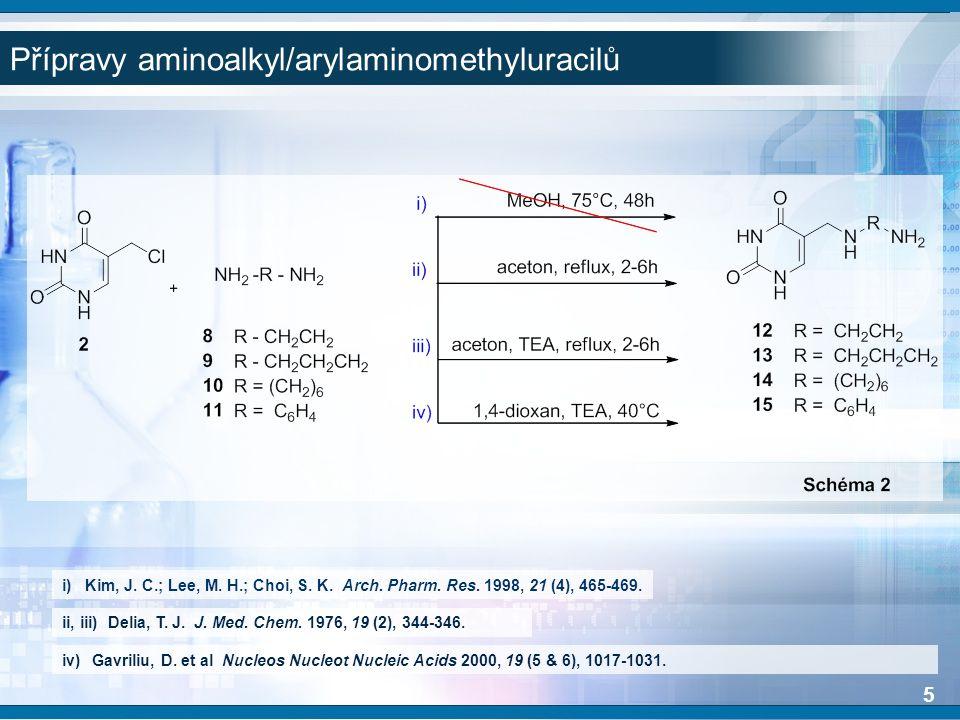 Možné pozice disubstituce aminoethylaminomethyl derivátu.