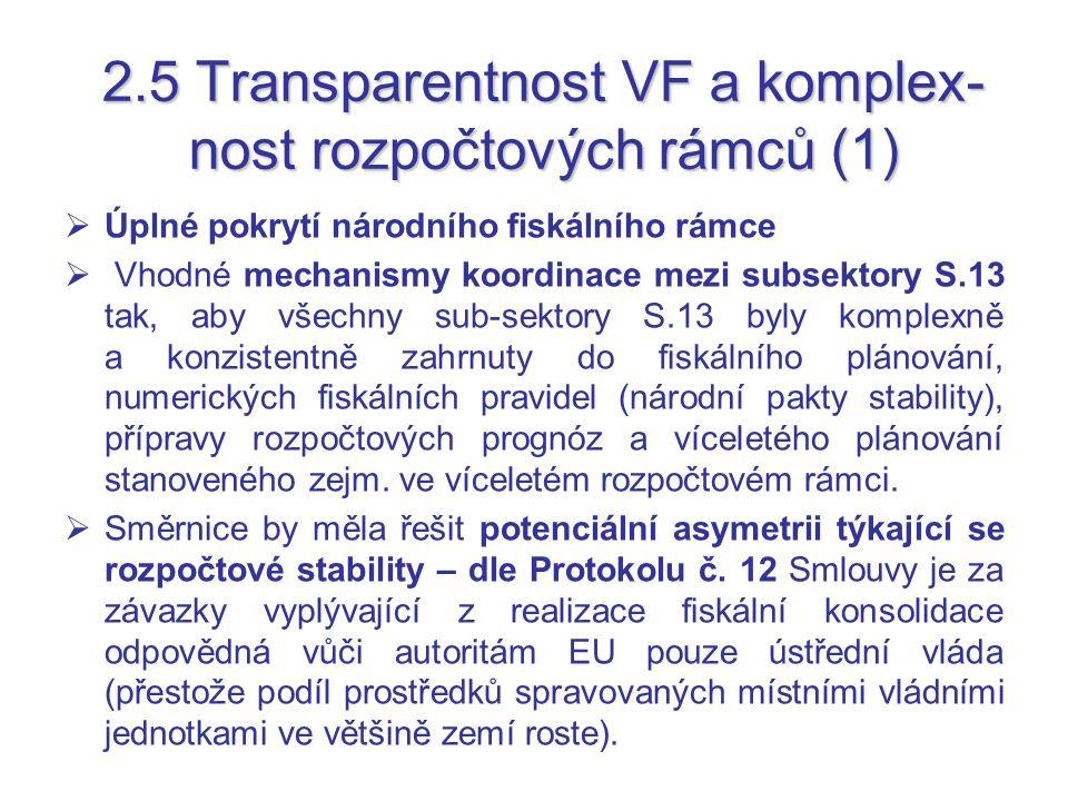 2.5 Transparentnost VF a komplex- nost rozpočtových rámců (1)  Úplné pokrytí národního fiskálního rámce  Vhodné mechanismy koordinace mezi subsektory S.13 tak, aby všechny sub-sektory S.13 byly komplexně a konzistentně zahrnuty do fiskálního plánování, numerických fiskálních pravidel (národní pakty stability), přípravy rozpočtových prognóz a víceletého plánování stanoveného zejm.