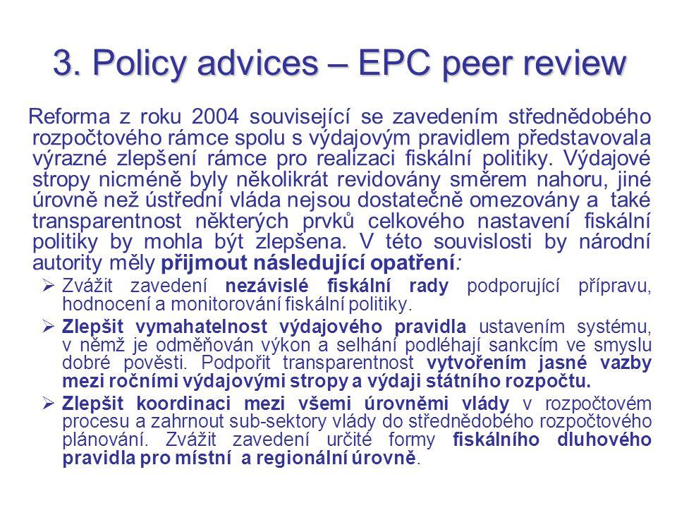 3. Policy advices – EPC peer review Reforma z roku 2004 související se zavedením střednědobého rozpočtového rámce spolu s výdajovým pravidlem představ