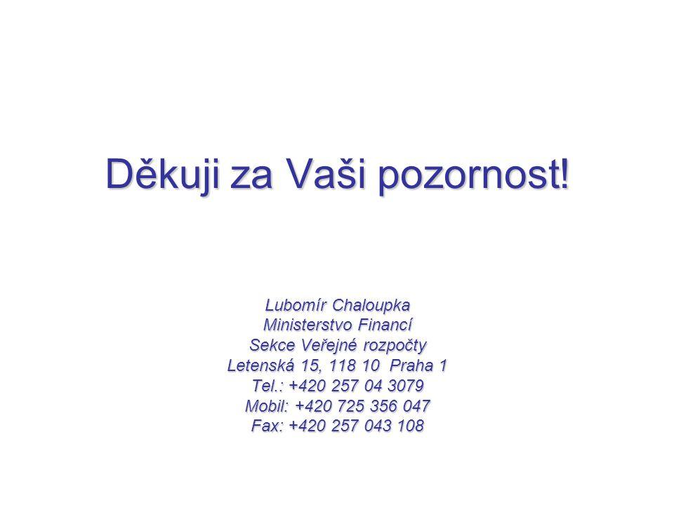 Děkuji za Vaši pozornost! Lubomír Chaloupka Ministerstvo Financí Sekce Veřejné rozpočty Letenská 15, 118 10 Praha 1 Tel.: +420 257 04 3079 Mobil: +420