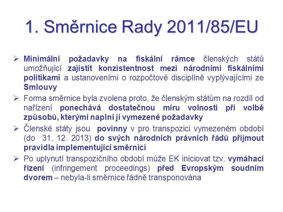 1. Směrnice Rady 2011/85/EU  Minimální požadavky na fiskální rámce členských států umožňující zajistit konzistentnost mezi národními fiskálními polit