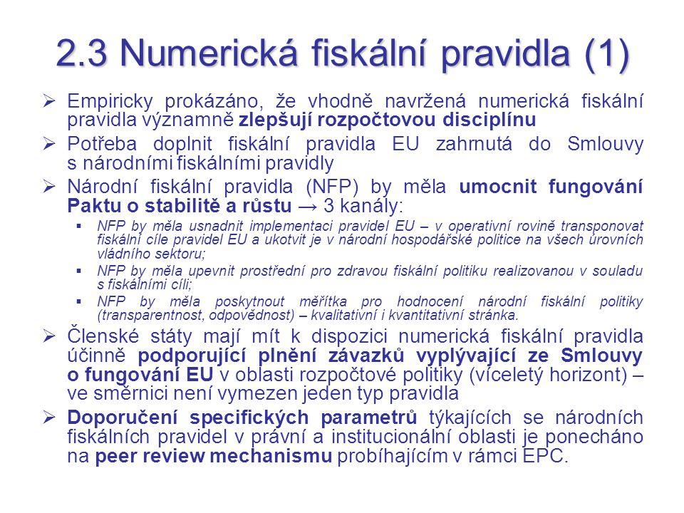 2.3 Numerická fiskální pravidla (1)  Empiricky prokázáno, že vhodně navržená numerická fiskální pravidla významně zlepšují rozpočtovou disciplínu  Potřeba doplnit fiskální pravidla EU zahrnutá do Smlouvy s národními fiskálními pravidly  Národní fiskální pravidla (NFP) by měla umocnit fungování Paktu o stabilitě a růstu → 3 kanály:  NFP by měla usnadnit implementaci pravidel EU – v operativní rovině transponovat fiskální cíle pravidel EU a ukotvit je v národní hospodářské politice na všech úrovních vládního sektoru;  NFP by měla upevnit prostřední pro zdravou fiskální politiku realizovanou v souladu s fiskálními cíli;  NFP by měla poskytnout měřítka pro hodnocení národní fiskální politiky (transparentnost, odpovědnost) – kvalitativní i kvantitativní stránka.