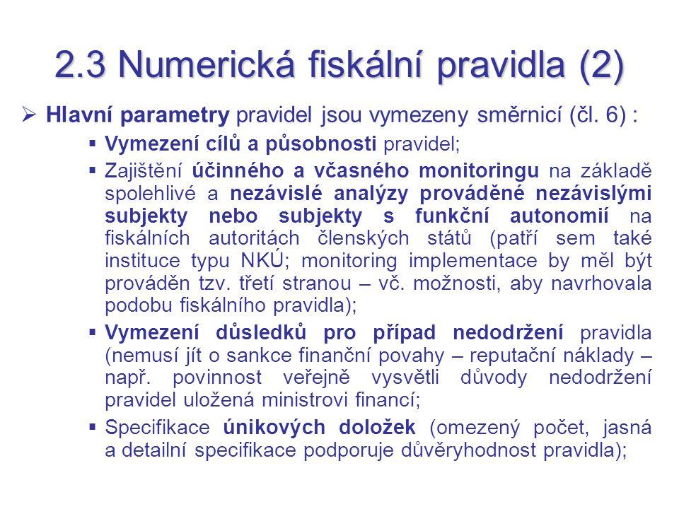 2.3 Numerická fiskální pravidla (2)  Hlavní parametry pravidel jsou vymezeny směrnicí (čl. 6) :  Vymezení cílů a působnosti pravidel;  Zajištění úč
