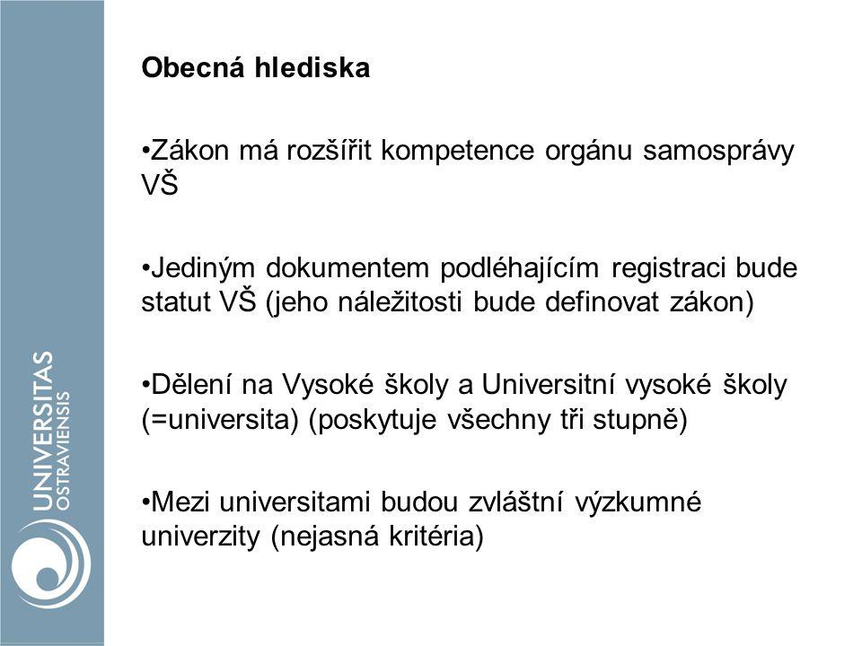 Obecná hlediska Zákon má rozšířit kompetence orgánu samosprávy VŠ Jediným dokumentem podléhajícím registraci bude statut VŠ (jeho náležitosti bude definovat zákon) Dělení na Vysoké školy a Universitní vysoké školy (=universita) (poskytuje všechny tři stupně) Mezi universitami budou zvláštní výzkumné univerzity (nejasná kritéria)