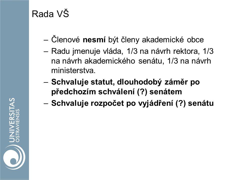Rada VŠ –Členové nesmí být členy akademické obce –Radu jmenuje vláda, 1/3 na návrh rektora, 1/3 na návrh akademického senátu, 1/3 na návrh ministerstva.