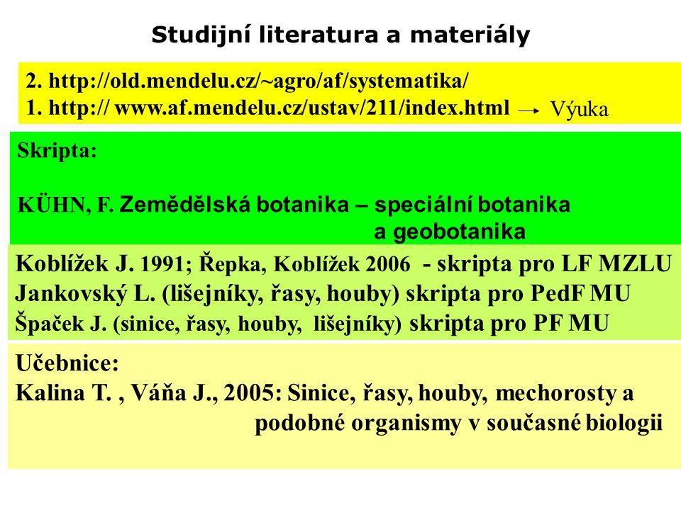 Studijní literatura a materiály 2. http://old.mendelu.cz/~agro/af/systematika/ 1. http:// www.af.mendelu.cz/ustav/211/index.html Skripta: KÜHN, F. Zem